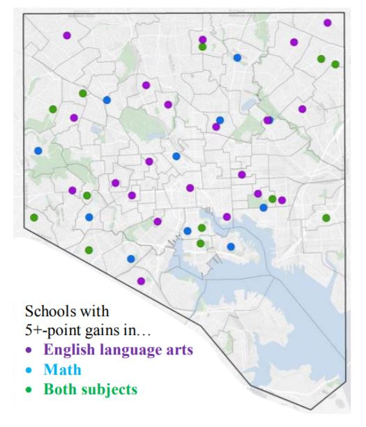 Map of Baltimore showing schools with gains in ELA and Math